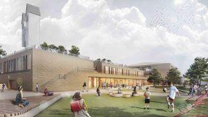 Die Pausenflächen der Schulen St. Michael bleiben auch nach der baulichen Umgestaltung großzügig, selbst das Dach der neuen Sporthalle (vorne) ist begrünt und als Pausenhof nutzbar.
